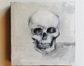 Framed Acrylic Skull Painting - Black and White Original Art - Size 8x8 - Contemporary Artwork - Grayscale