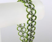 Chainmaille Bracelet, Lime Green Japanese Lace Chainmail Bracelet, Chain Mail Jewelry