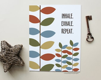 Inspirational Quote Art Home Decor, Leaves Wall Art, Inhale. Exhale. Repeat.