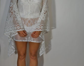 Handmade OOAK Sheer Cotton Lace Dress XS S M Huge Angel Wing Bell Sleeves Upcycled Vintage Boho Bride Hippie Gypsy Bridal Resort Festival