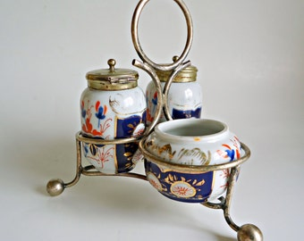 Imari Condiment Set Porcelain EPNS Silverplate Stand and Lids Antique