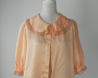 Vintage Bed Jacket, 1930s Bed Jacket, 1930s Pink Silk Bedjacket, 1930s Lingerie, 1930 Vintage Pajama Top, 1930s Pink Silk Blouse, 1930s Top