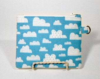 Cloud Doodles on a Blue Sky Small Zipper Pouch