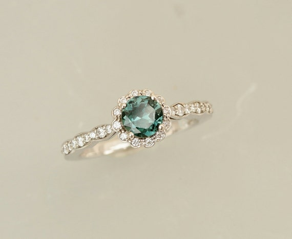 Blue Green Sapphire Engagement Ring in 14k White Gold Diamond Halo Flower Style Gemstone Engagement Ring Wedding Anniversary