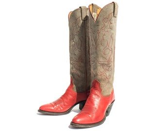 6 C | Cowboy Boots Ladies Tall Western Boots Grey Suede and Red Leather by Nocona