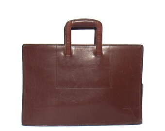 Vintage Schelsinger Brothers Saddle Leather Briefcase Attache  Zip Top Laptop Work Bag made for Motorola
