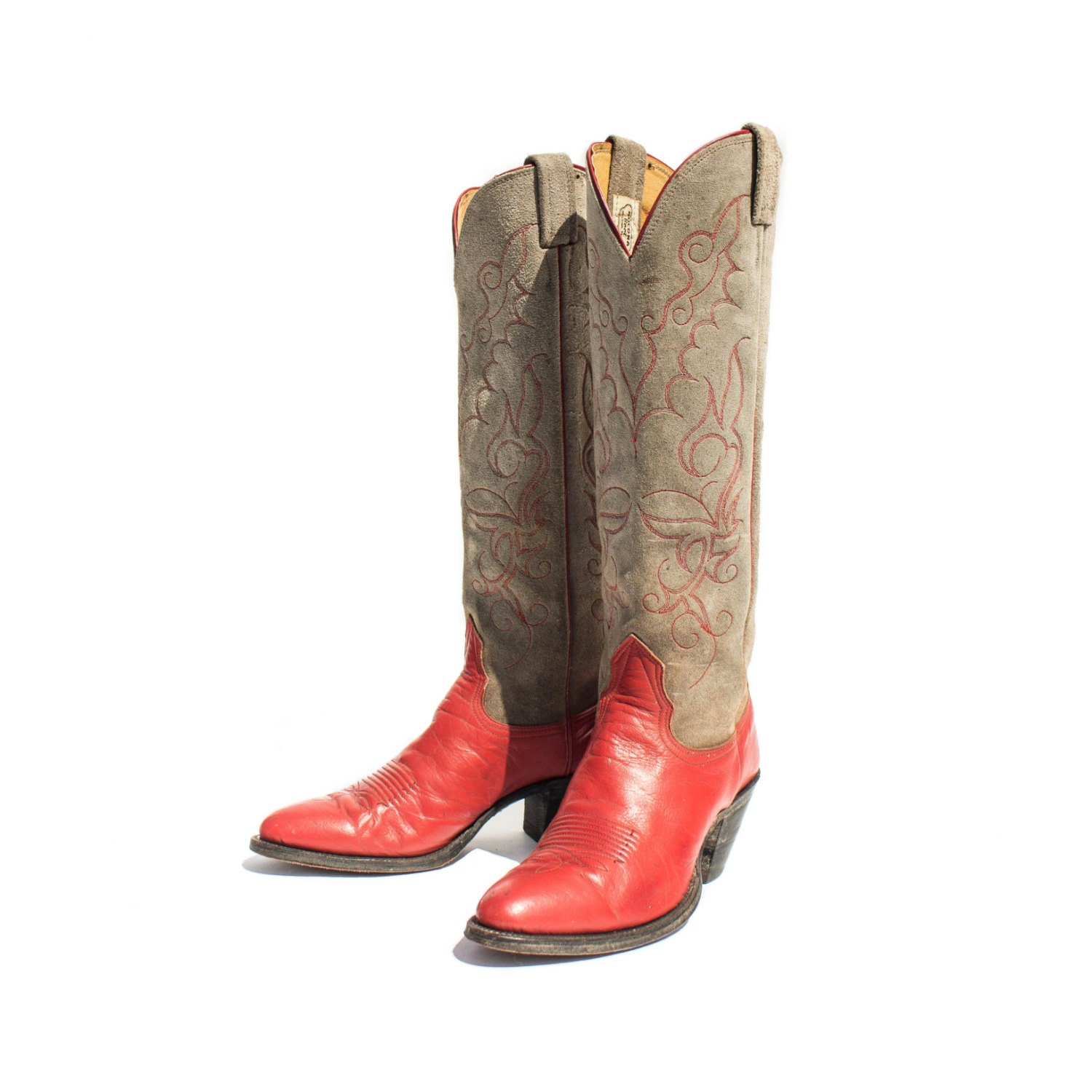 6 c cowboy boots western boots grey suede and