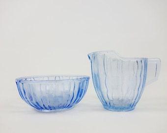 Vintage Blue Art Deco Milk Jug and Sugar Bowl