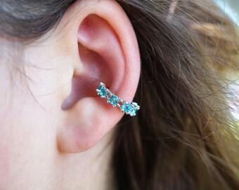 SALE Aqua Blue Crystal Non Piercing Ear Cuff