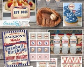 Vintage Baseball Party Collection - INSTANT DOWNLOAD - Editable & Printable Boys Birthday Party Decorations by Sassaby Parties