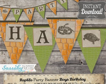 Reptile Party Banner - INSTANT DOWNLOAD - Partially Editable & Printable Birthday Snake, Lizard, Party Decorations, Decor, Bunting