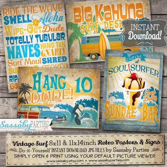 14 Vintage Surf Party Posters Signs
