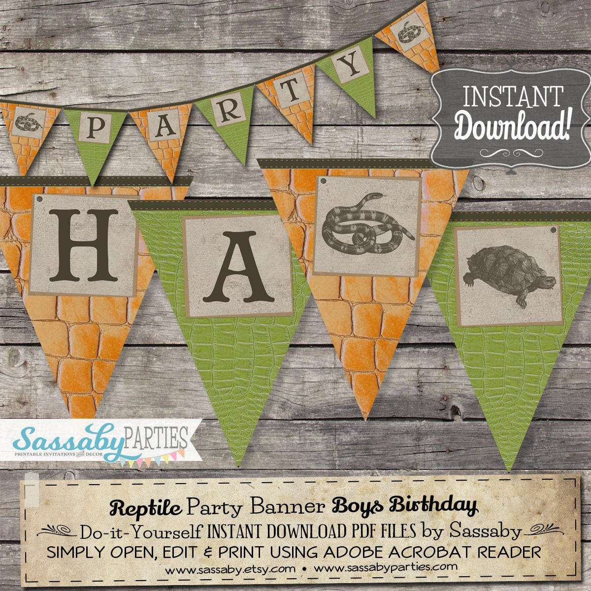 Reptile Party Banner INSTANT DOWNLOAD Partially Editable