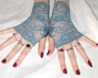 Blue Lace Arm Warmers Gothic Fingerless Gloves Armwarmers Arm Warmer - pewter - Belly Dance Burlesque goth bride bridal gypsy Victorian emo