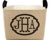 20% OFF! Monogrammed Natural Burlap Bin with Triple Monogram…stylish storage, perfect for gift giving
