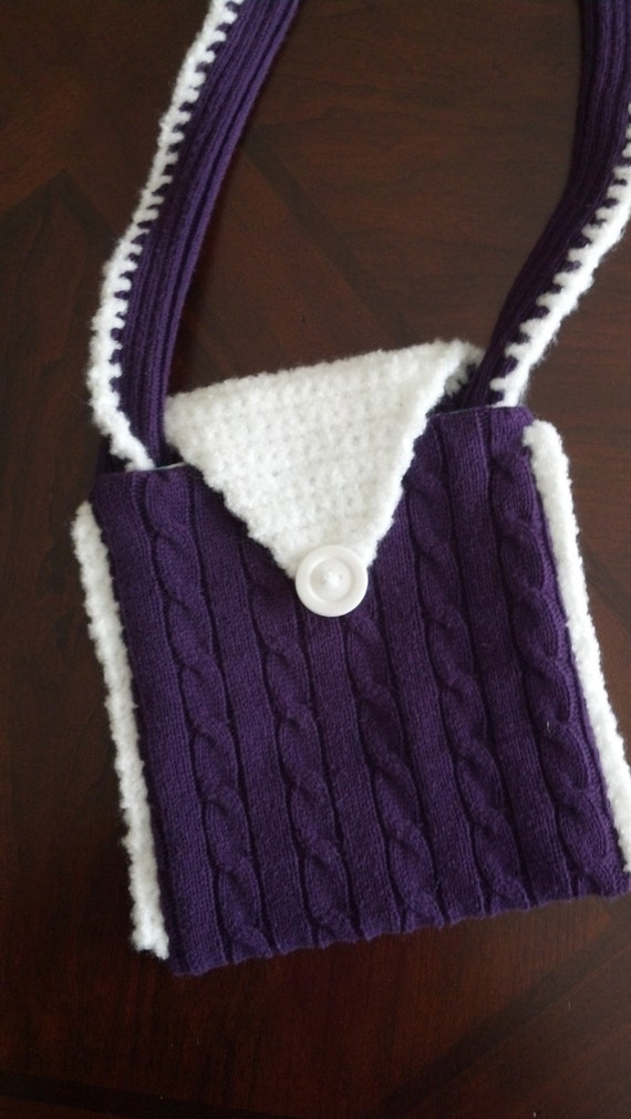 Purple purse from repurposed sweater - 10% off!