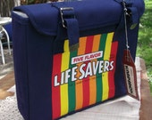 1960s - 70s Five Flavor Life Savers Tote Bag School Bag The Candy With The Hole New Old Stock