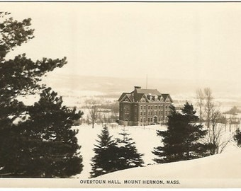 Overtoun Hall, Mount Hermon, Massachusetts RPPC Black and White Vintage Real Photograph Postcard