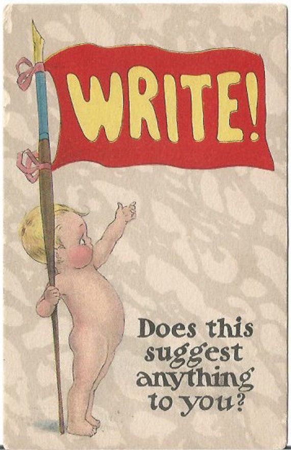 "Naked kewpie look-a-like  Baby Boypointing to Banner Flag that says ""Write"" Vintage Postcard"