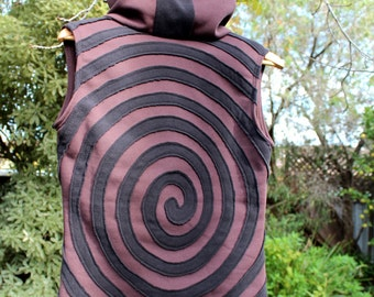 Spiral Brown and Black Psy Pixie Vest