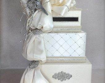 Bows and Diamonds Wedding Card Holder, Wedding Card Box Elegant Bridal Shower Card Box, Envelope Wedding Box, Reception Card Box