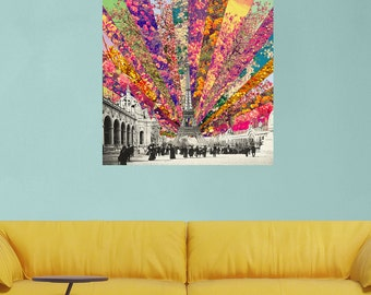 Eiffel Tower Floral Photo Collage Wall Sticker - Vintage Paris by Bianca Green