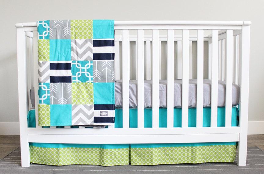 Custom Crib Bedding Turquoise Lime Green Grey By GiggleSixBaby