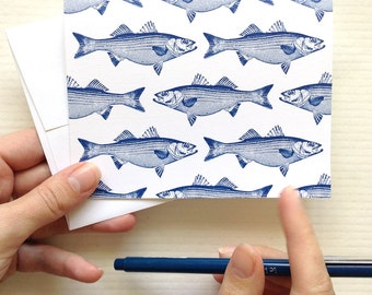 Striped Bass Notecards - Set of 8 with Envelopes