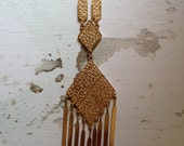 Gold Vintage 1970's Metal Chain Ornate Hexagon Triangle Tassel Pendant Adjustable Boho Necklace