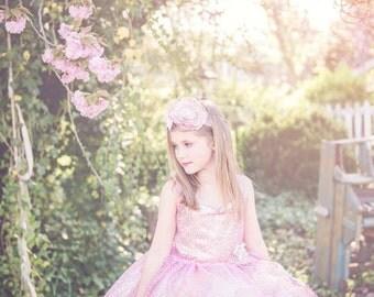 Pink Sequin Flower Girl Dress