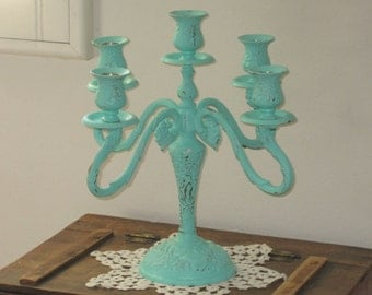 Large  Silver Plated Candelabra - Wedding Table Centerpiece  - Shabby Chic Distressed Aquamarine