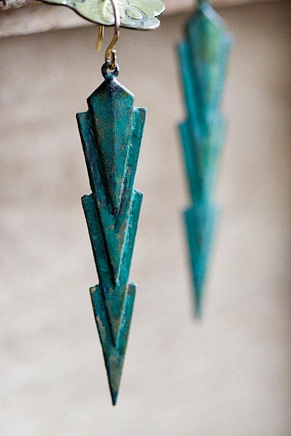 Narrow Triangle Earrings Verdigris Patina Geometric Earrings Rustic Green Art Deco Jewelry - E262