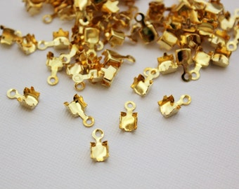 4.3mm Gold Plated Fold Over Cup Chain Ends. Fits up to 4.3mm Cup Chain - 50pcs
