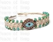 Evil Eye Hemp Hippie Clip Bracelet