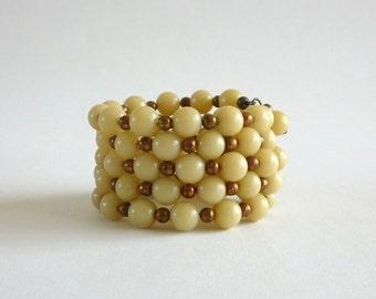 Vintage Cream Beaded Wrap Bracelet, Lucite Bead Bracelet, 1960s Bracelet