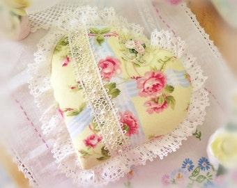 Ruffled Heart Pillow Ornament Heart Door Hanger, 9 in. Heart Pillow, YellowFloral, Cottage Chic, Handmade CharlotteStyle Decorative Folk Art