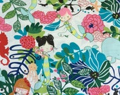 If I Were A Mermaid Fabric in natural pool by Alexander Henry Fabrics (1 yard)