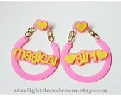 LARGE Pink and Yellow MAGICAL GIRL Dreamy Hoops Glitter Acrylic Charm Earrings for Mahou Kei & Magical Girl Lovers