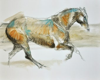 Canter Horse, Animal, Contemporary Original Fine Art, Oil Pastels Painting Study of a galloping Horse