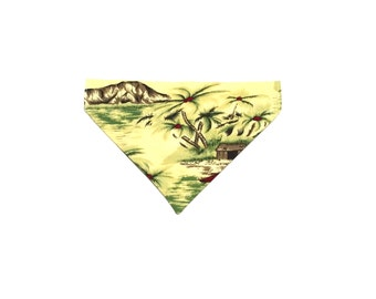 Medium Yellow Hawaiian Slip On Dog Bandana Over the Collar