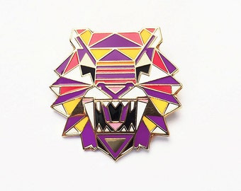 Tiger Brooch Pin Badge Enamel geometric