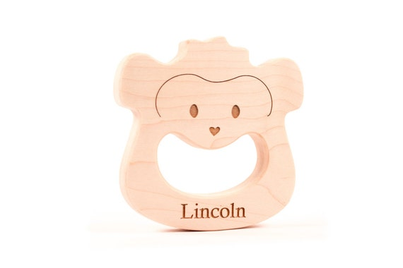 personalized natural monkey TEETHER TOY - organic wood teething for montessori baby, safari nursery decor - eco-friendly, smooth, and safe