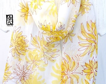 Hand Painted silk scarf, Yellow and Gold Chrysanthemum Scarf, Silk Scarves Takuyo, Silk Chiffon Scarf, 10x59 inches.