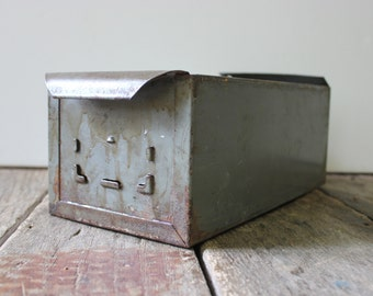 Antique Drawer / Antique metal file drawer / Industrial box / Mancave decor / Industrial storage / Industrial Factory Salvage