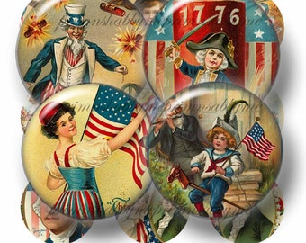 5 Vintage July 4th, Bottle Cap Images, Digital Collage Sheet, 1 Inch Circles, Patriotic, Digital Download Collage Sheets, Americana (No.1)