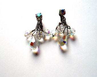 Vintage Crystal Earrings Aurora Borealis Drop 1940s Bridal Wedding Jewelry
