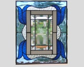 Stained glass panel window blue Victorian stained glass window panel window hanging stained glass etched roses suncatcher stained glass art