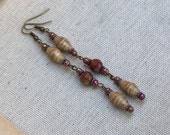 Paper bead earrings ~ Crazy lace agates ~ shades of brown ~