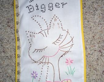"VINTAGE Cross Stitch CAT & MOUSE Growth Chart 8"" X 46"""