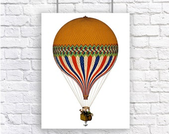 Hot Air Balloon Vintage Style Large Art Print Blue Red Gold Steampunk